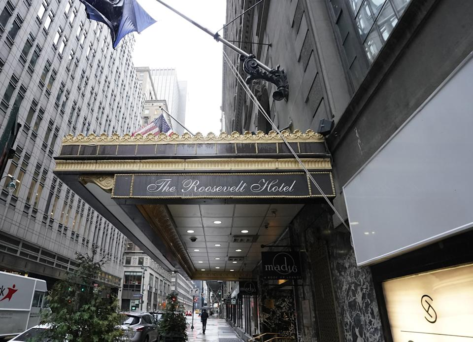 The entrance of the  Roosevelt Hotel, a historic luxury hotel in Midtown Manhattan, is seen in New York on October 12, 2020. - The Roosevelt Hotel announced the hotel would permanently close due to continued financial losses associated with the COVID-19 pandemicThe final day of operation will be October 31, 2020. The hotel, named in honor of President Theodore Roosevelt, opened on September 22, 1924. (Photo by TIMOTHY A. CLARY / AFP) (Photo by TIMOTHY A. CLARY/AFP via Getty Images)
