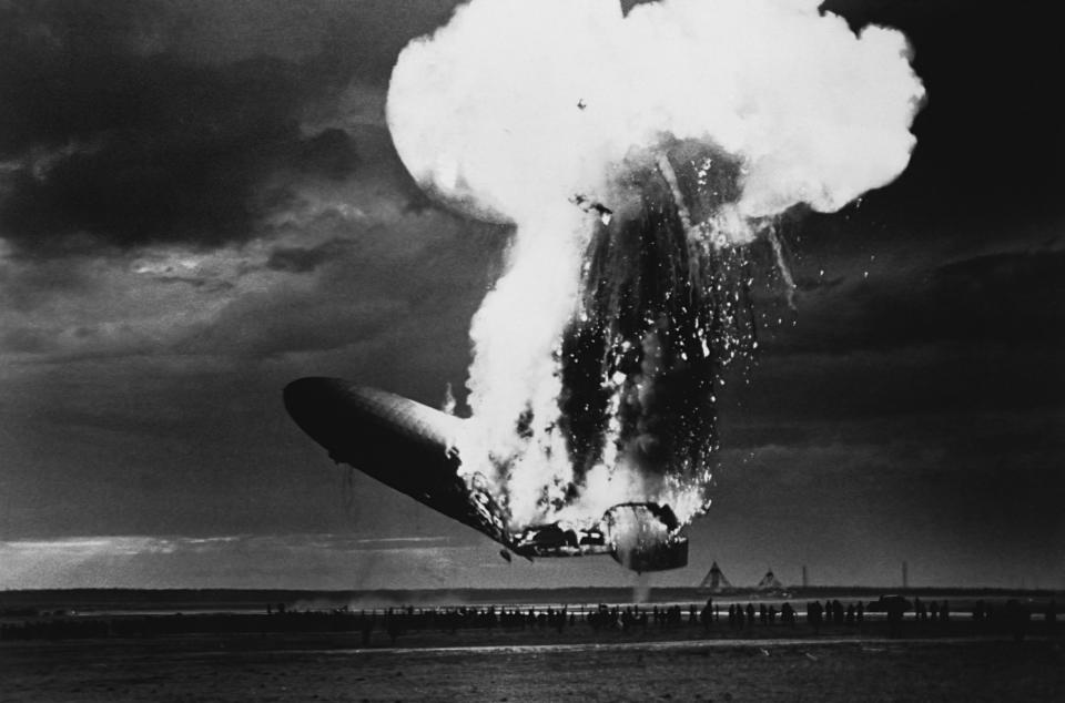 American history photograph shows the explosion of the airship Hindenburg upon docking at Lakehurst, New Jersey on May 6, 1937.