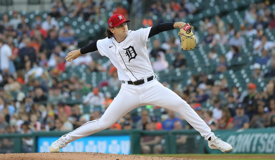 Detroit Tigers starter Casey Mize (12) pitches against the Chicago White Sox during second inning action at Comerica Park in Detroit on Friday, July 2, 2021.