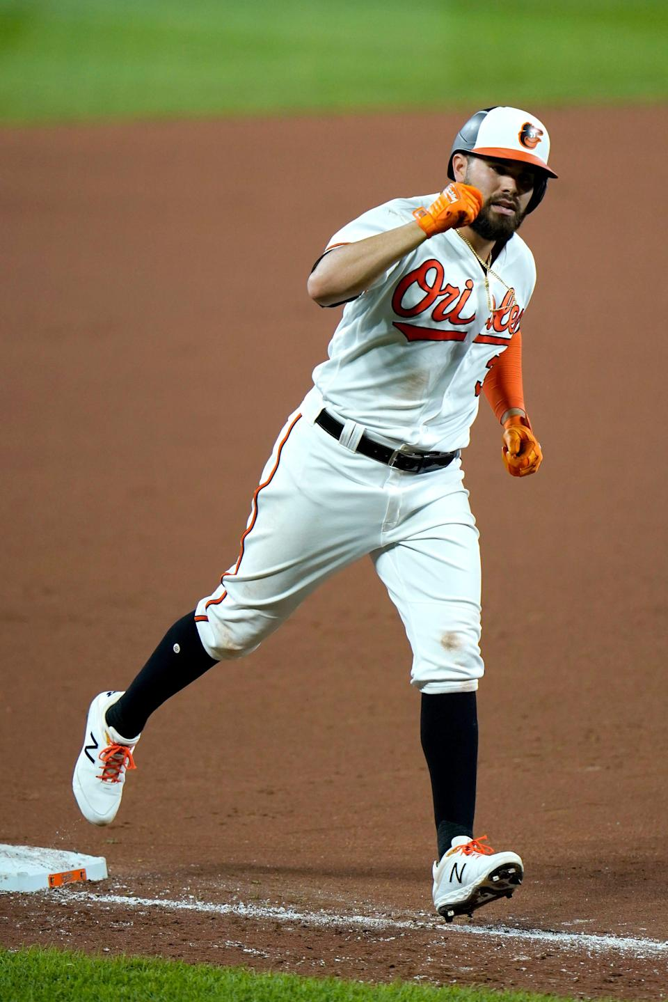 Baltimore Orioles' Renato Nunez runs the bases after hitting a solo home run off New York Mets relief pitcher Franklyn Kilome during the seventh inning of a baseball game, Tuesday, Sept. 1, 2020, in Baltimore. (AP Photo/Julio Cortez)