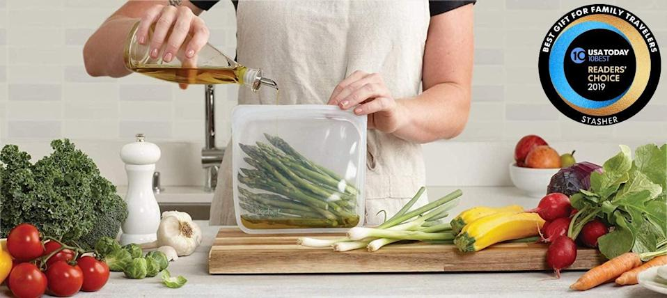 <p>Help them ditch plastic in 2020 with the help of these <span>Stasher 100% Silicone Reusable Food Bags</span> ($12).</p>