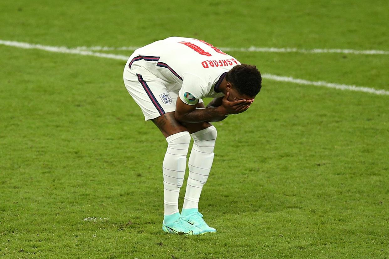 LONDON, ENGLAND - JULY 11: Marcus Rashford of England reacts after hitting the post in their team's third penalty in a penalty shoot out during the UEFA Euro 2020 Championship Final between Italy and England at Wembley Stadium on July 11, 2021 in London, England. (Photo by Alex Morton - UEFA/UEFA via Getty Images)