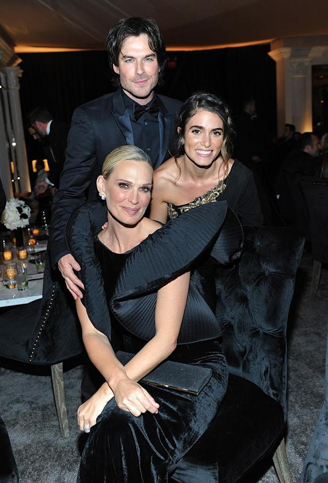 <p>Molly Sims third-wheeled with Ian Somerhalder and Nikki Reed at the Warner Bros. and InStyle party. (Photo: Donato Sardella/Getty Images for InStyle) </p>