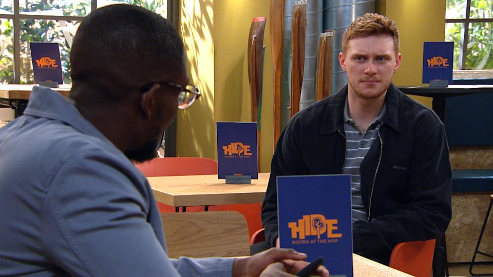 FROM ITV  STRICT EMBARGO  Print media - No Use Before Tuesday 25th May 2021 Online Media - No Use Before 0700hrs  Tuesday 25th May 2021  Emmerdale - Ep 9063  Wednesday 2nd June 2021  Ethan [EMILE JOHN] comes to an unsettling realisation regarding what Luke Posner [MAX PARKER] finally is up to   Picture contact David.crook@itv.com   This photograph is (C) ITV Plc and can only be reproduced for editorial purposes directly in connection with the programme or event mentioned above, or ITV plc. Once made available by ITV plc Picture Desk, this photograph can be reproduced once only up until the transmission [TX] date and no reproduction fee will be charged. Any subsequent usage may incur a fee. This photograph must not be manipulated [excluding basic cropping] in a manner which alters the visual appearance of the person photographed deemed detrimental or inappropriate by ITV plc Picture Desk. This photograph must not be syndicated to any other company, publication or website, or permanently archived, without the express written permission of ITV Picture Desk. Full Terms and conditions are available on  www.itv.com/presscentre/itvpictures/terms