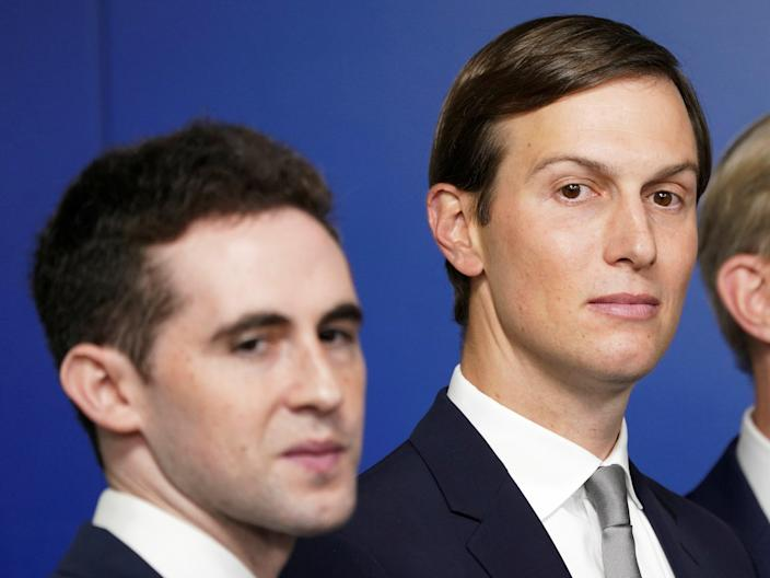 <p>Jared Kushner, flanked by aide Avi Berkowitz (L) and Brian Hook, former U.S. envoy to Iran, during a press briefing on the agreement between Israel and the United Arab Emirates at White House in Washington, DC, on 13 August 2020</p> ((Reuters))