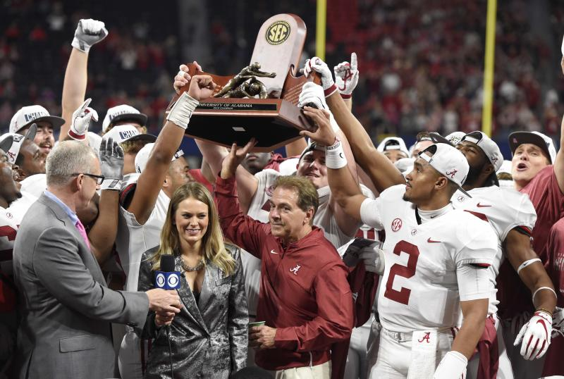 Dec 1, 2018; Atlanta, GA, USA; Alabama Crimson Tide head coach Nick Saban with the trophy after defeating the Georgia Bulldogs in the SEC championship game at Mercedes-Benz Stadium. Mandatory Credit: John David Mercer-USA TODAY Sports