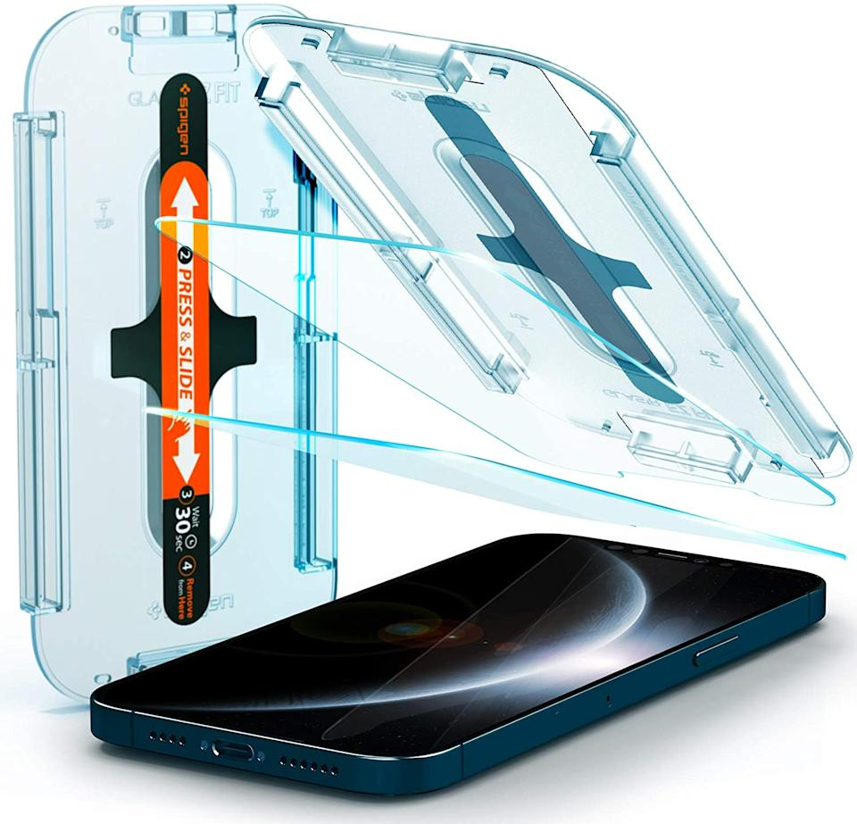 The innovative Spigen Tempered Glass Screen Protector takes the work out of protecting your cell phone. Image via Amazon.
