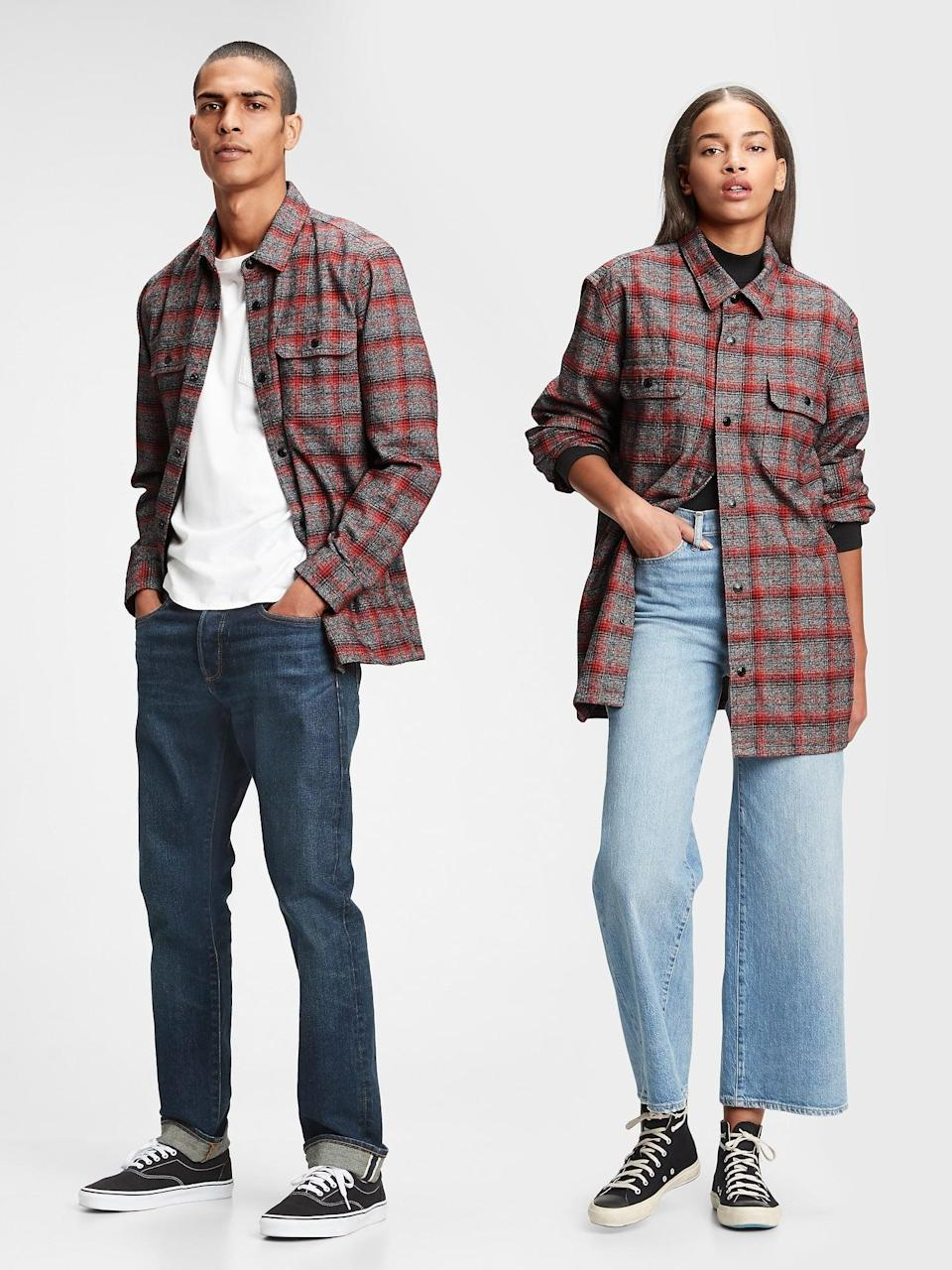<p>We love this his and hers <span>Gap Flannel Shirt Jacket</span> ($71, originally $80).</p>