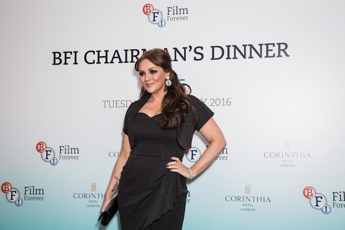 Martine McCutcheon poses for photographers upon arrival at the BFI Chairman's Dinner in London, Tuesday, Feb. 23, 2016. (Photo by Vianney Le Caer/Invision/AP)