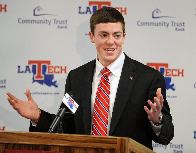 Tyler Summitt smiles during a press conference where it was formally announced that he will take over as the new Louisiana Tech women's basketball coach, Wednesday, April 2, 2014 in Ruston, La. The 23-year-old Summitt is the son of Hall-of-Fame Tennessee Lady Vols coach Pat Summitt