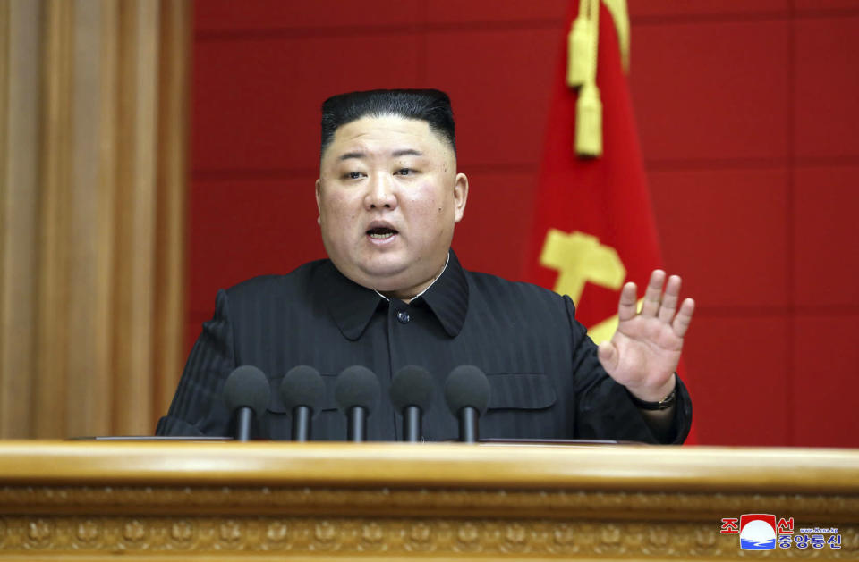 """In this photo provided by the North Korean government, Kim Jong Un speaks in a conference with chief secretaries of the city and county party committees in Pyongyang, North Korea, Saturday, March 6, 2020. The content of this image is as provided and cannot be independently verified. Korean language watermark on image as provided by source reads: """"KCNA"""" which is the abbreviation for Korean Central News Agency. (Korean Central News Agency/Korea News Service via AP)"""
