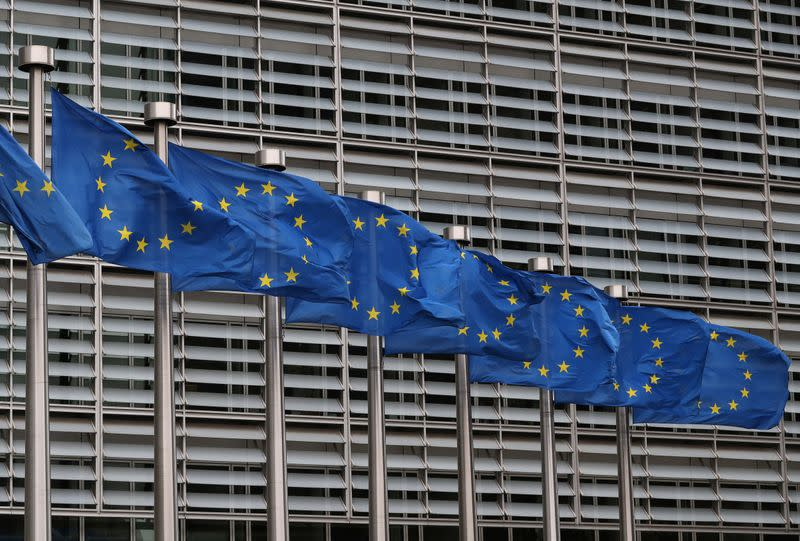 European Union flags fly near the European Commission headquarters in Brussels