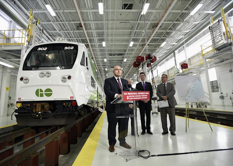 Ontario Minister of Transportation, Steven Del Duca, at a GO Transit facility in Willowbrook.
