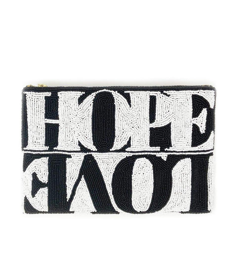 """<p>ibumovement.com</p><p><strong>$225.00</strong></p><p><a href=""""https://ibumovement.com/collections/ali4ibu-holiday-2020/products/hope-love-beaded-clutch-black-and-white"""" rel=""""nofollow noopener"""" target=""""_blank"""" data-ylk=""""slk:Shop Now"""" class=""""link rapid-noclick-resp"""">Shop Now</a></p>"""