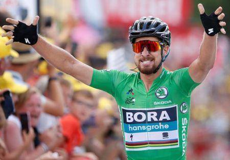 Cycling - Tour de France - The 204.5-km Stage 5 from Lorient to Quimper - July 11, 2018 - BORA-Hansgrohe rider Peter Sagan of Slovakia wins the stage. REUTERS/Stephane Mahe