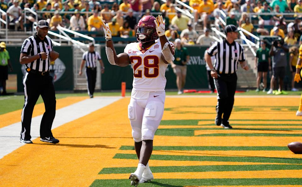 Sep 25, 2021; Waco, Texas, USA; Iowa State Cyclones running back Breece Hall (28) shows his excitement after scoring a touchdown in the first half of the game against the Baylor Bears at McLane Stadium. Mandatory Credit: Scott Wachter-USA TODAY Sports