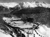 <p>Switzerland created a maze of outdoor stadiums for hosting the Winter Olympic Games in 1948. This park was created in the mountains of St. Moritz. The elevation makes it possible to get a great photo overlooking the opening ceremonies as the U.S. athletes enter the stadium. </p>