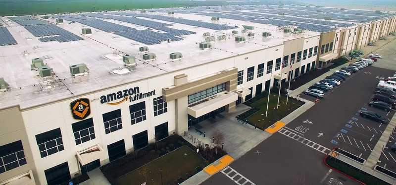 An Amazon fulfillment building.