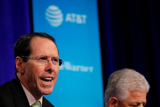 Chief Executive Officer of AT&T Randall Stephenson speaks during a press conference in New York City, New York, U.S. November 20, 2017. REUTERS/Shannon Stapleton