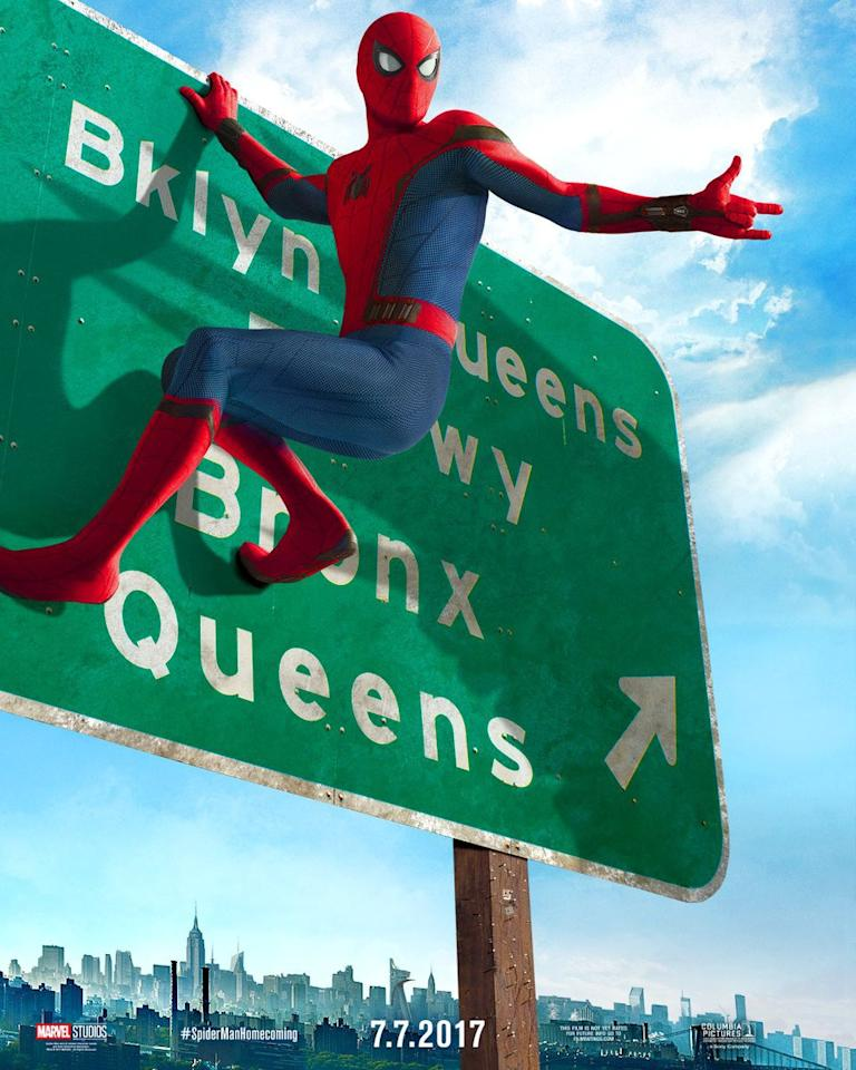 <p>The webslinger takes a new direction in this 'Spider-Man: Homecoming' poster (Sony Pictures/Marvel) </p>