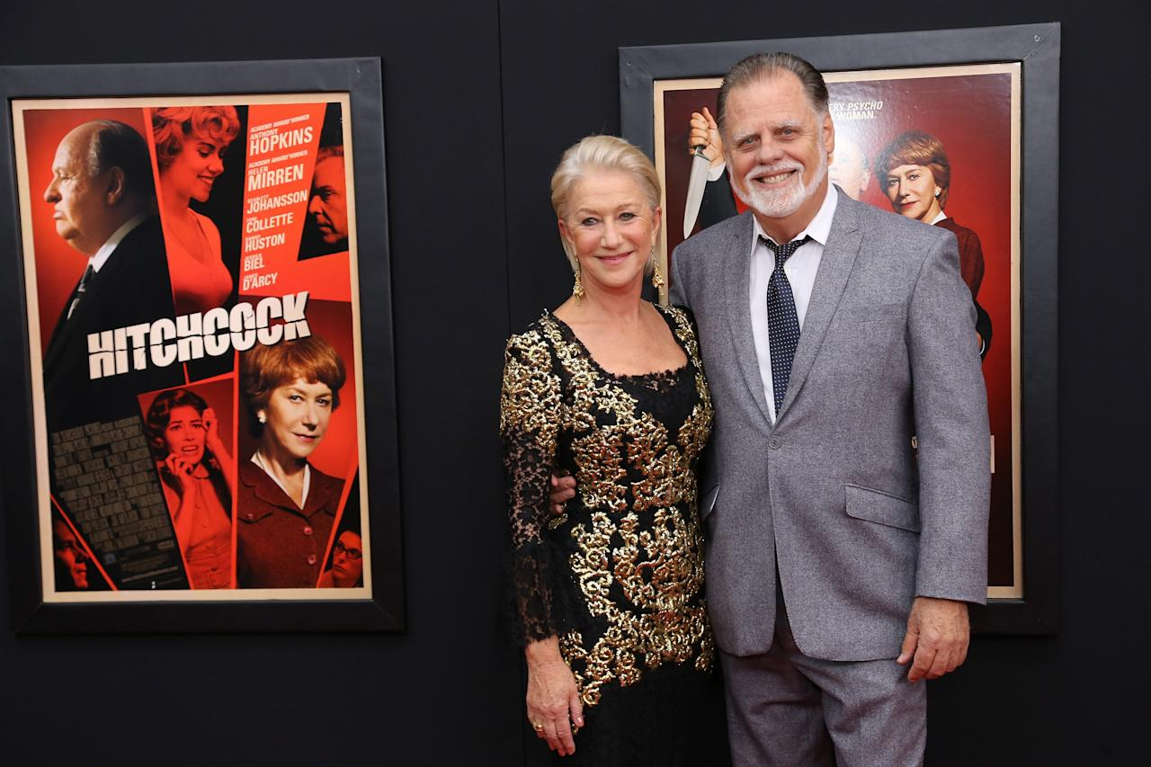 "NEW YORK, NY - NOVEMBER 18:  Actress Dame Helen Mirren and Taylor Hackford attend the ""Hitchcock"" New York Premiere at Ziegfeld Theater on November 18, 2012 in New York City.  (Photo by Neilson Barnard/Getty Images)"