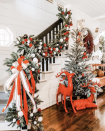 """<p>Make a big statement with a larger-than-life evergreen garland studded with festive red and white pom-poms, then topped with a big bow. </p><p><em>See more at <a href=""""https://www.instagram.com/p/B5l3RrhBh-F/"""" rel=""""nofollow noopener"""" target=""""_blank"""" data-ylk=""""slk:Farm Shenanigans"""" class=""""link rapid-noclick-resp"""">Farm Shenanigans</a>. </em></p><p><a class=""""link rapid-noclick-resp"""" href=""""https://www.amazon.com/Tatuo-Christmas-Garland-Holiday-Decoration/dp/B08JSNCNHM?tag=syn-yahoo-20&ascsubtag=%5Bartid%7C10072.g.34479907%5Bsrc%7Cyahoo-us"""" rel=""""nofollow noopener"""" target=""""_blank"""" data-ylk=""""slk:SHOP POM-POM GARLAND"""">SHOP POM-POM GARLAND</a></p>"""
