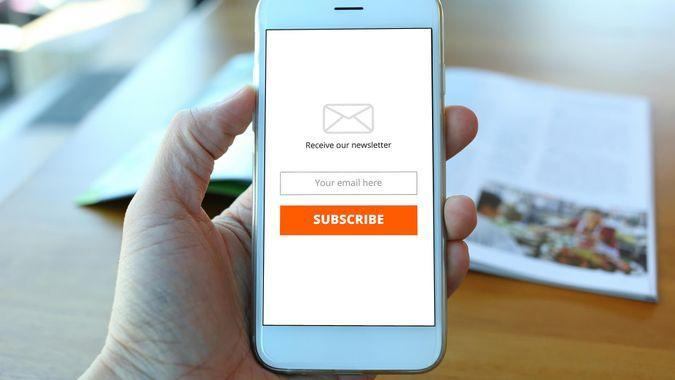 person subscribing to email newsletter