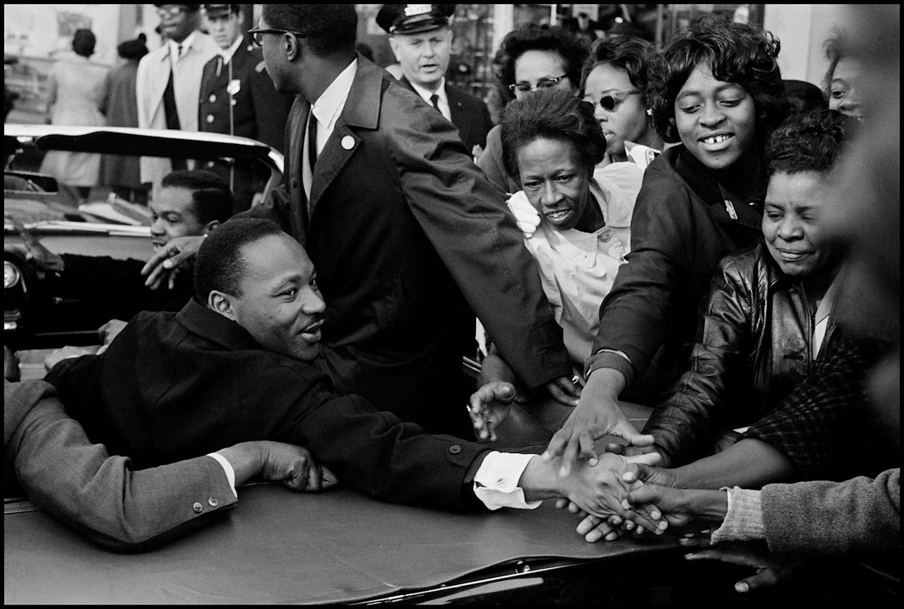 <p>Dr. Martin Luther King, Jr. is greeted in Baltimore, Md., Oct. 31, 1964, on his return to the U.S. after receiving the Nobel Peace Prize. (© Leonard Freed/Magnum Photos) </p>