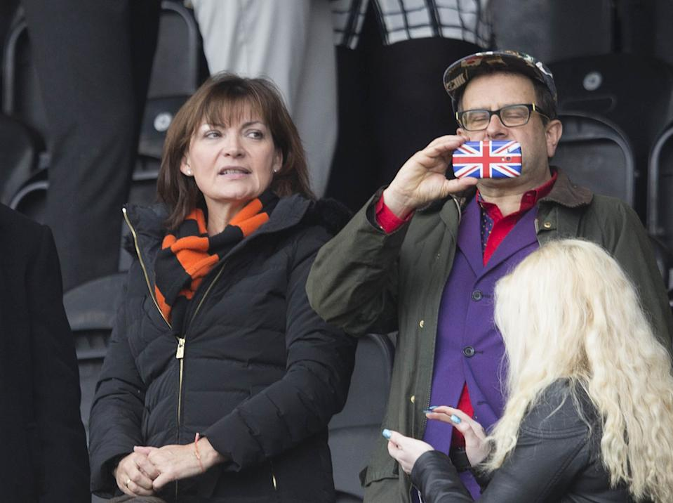Lorraine Kelly and Timmy Mallett at the Scottish Premiership match at Tannadice Park, Dundee.   (Photo by Jeff Holmes/PA Images via Getty Images)