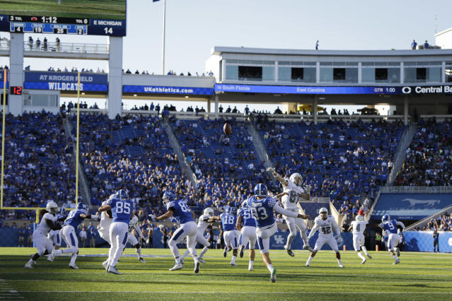 Kentucky place kicker Matt Panton punts the ball during the first half of an NCAA college football game against Eastern Michigan Saturday, Sept. 30, 2017, in Lexington, Ky. (AP Photo/David Stephenson)