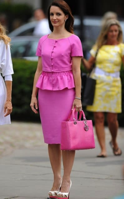 """<div class=""""caption-credit""""> Photo by: HBO</div><b>Charlotte York Goldenblatt on """"Sex and the City""""</b> <br> Classic, feminine, and preppy best describes Charlotte's personal style. She typically opts for prim and proper outfits with crisp tailoring, and accessories like headbands, pearl earrings, or a sweater around the neck. Think New England sorority girl all grown up."""