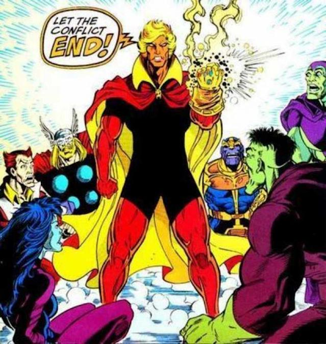 Adam Warlock helps thwart Thanos and dons the Infinity Gauntlet. (Credit: Marvel Comics)
