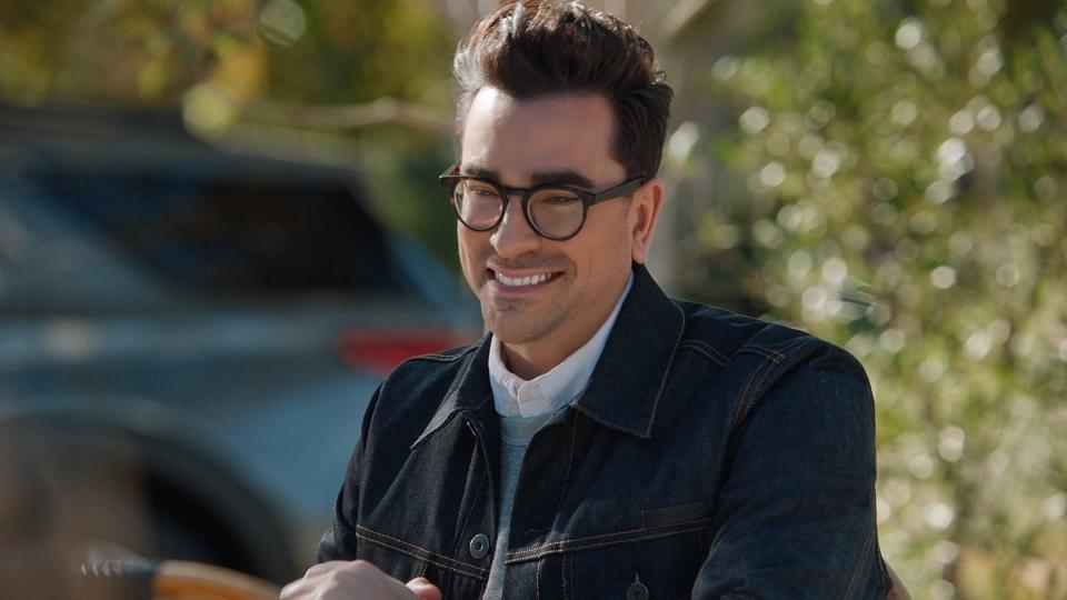 This photo provided by M&M's shows a scene from M&M's 2021 Super Bowl NFL football spot featuring Dan Levy. (M&M's via AP)