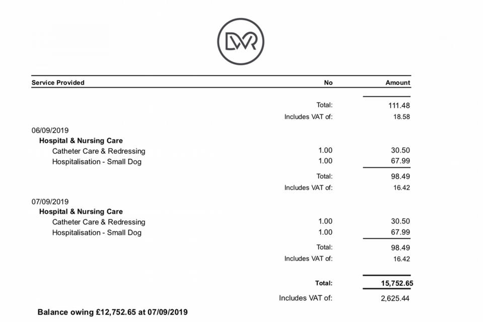 The bill from the vet given to Martin Snell for the puppy's injuries (Picture: Caters)