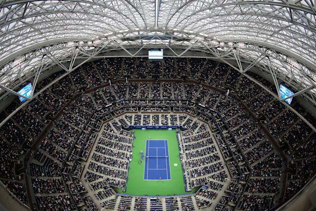 <p>Angelique Kerber of Germany and Naomi Osaka of Japan play in Arthur Ashe Stadium on Day Two of the 2017 US Open at the USTA Billie Jean King National Tennis Center on August 29, 2017 in the Flushing neighborhood of the Queens borough of New York City. (Photo by Elsa/Getty Images) </p>