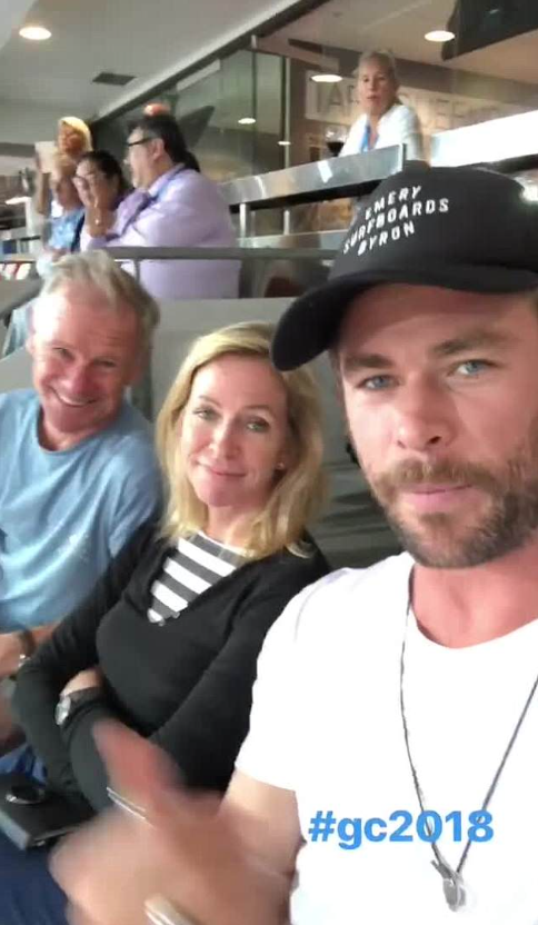 His mother was seen rolling his eyes during the family affair. Source: Instagram/chrishemsworth