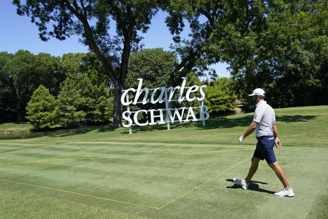 Dustin Johnson walks to the 13th fairway during practice for the Charles Schwab Challenge golf tournament at the Colonial Country Club in Fort Worth, Texas, Wednesday, June 10, 2020. (AP Photo/David J. Phillip)