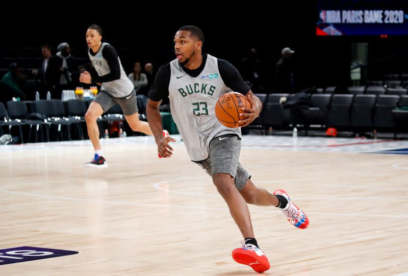 FILE PHOTO: Milwaukee Bucks training ahead of the NBA Paris Game 2020