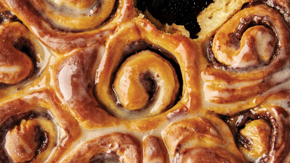 """You've managed to keep yourself busy for the past several weeks tinkering on a few projects, recording TikToks, and sliding in on various House Party hangouts. But burnout happens to all of us. When your brain is feeling glazed over, fight it with literal glaze: Cinnamon-Date Sticky Buns. This recipe will keep you busy and let you unwind at the same time. <a href=""""https://www.bonappetit.com/recipe/cinnamon-date-sticky-buns?mbid=synd_yahoo_rss"""" rel=""""nofollow noopener"""" target=""""_blank"""" data-ylk=""""slk:See recipe."""" class=""""link rapid-noclick-resp"""">See recipe.</a>"""