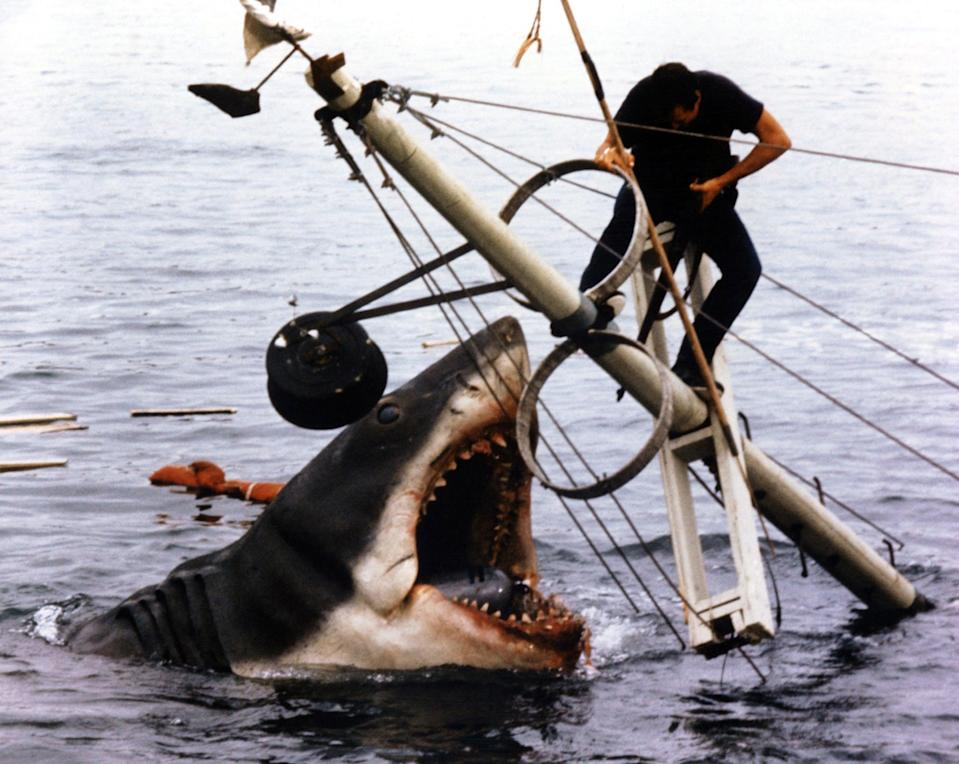"""<p>As the film's original poster boasts, <strong>Jaws</strong> is based on """"the terrifying no. 1 bestseller"""" by Peter Benchley. Benchley wrote the novel after being inspired by stories about Frank Mundus, a shark fisherman known as """"Monster Man."""" This thriller is a classic, so be sure to add it to your queue.</p> <p>Watch <a href=""""https://play.hbomax.com/page/urn:hbo:page:GXYT08wgPLsIAIwEAAAQB:type:feature?utm_id=sa%7c71700000067030777%7c58700005868654303%7cp53631644808&amp;gclid=Cj0KCQiA4L2BBhCvARIsAO0SBdZ8t-eFTkt-98KdC-ZZjcTzYkdy_UCxZVQQQkjEq3_rF9ev3AKncMsaAr4YEALw_wcB&amp;gclsrc=aw.ds"""" class=""""link rapid-noclick-resp"""" rel=""""nofollow noopener"""" target=""""_blank"""" data-ylk=""""slk:Jaws""""><strong>Jaws</strong></a> on HBO Max now.</p>"""