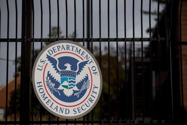 PHOTO: The Department of Homeland Security seal hangs on a fence at the agency's headquarters in Washington, Dec. 11, 2014. (Andrew Harrer/Bloomberg via Getty Images, FILE)