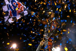 <em>Kyle Larson celebrates after winning the World of Outlaws race in Pevely, Missouri (Trent Gower/World of Outlaws).</em>