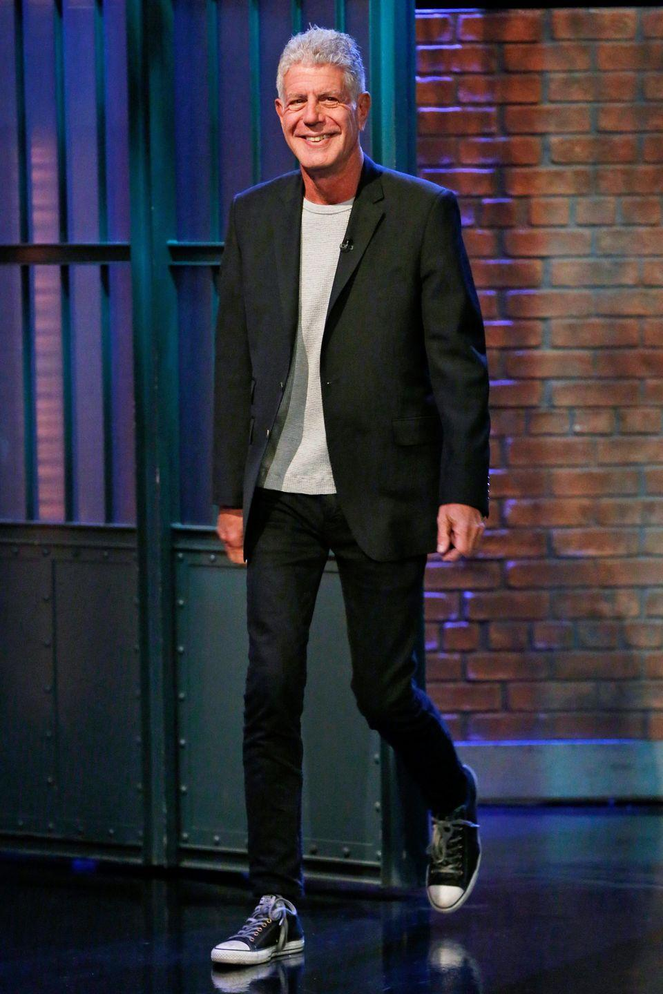 <p>Bourdain stops by the <em>Late Night with Seth Meyers</em> on October, 31, 2017 in New York. </p>