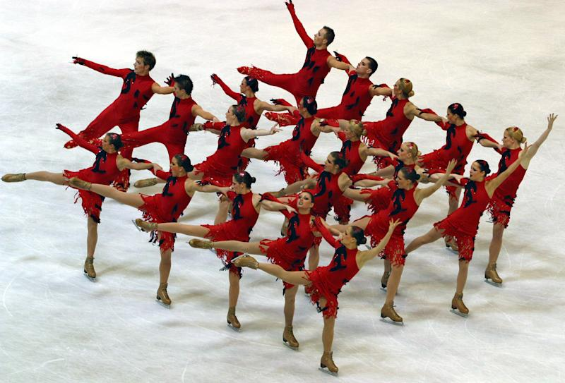 A U.S. synchronized skating team competing in Zagreb, Croatia, in 2004. (Reuters Photographer / Reuters)