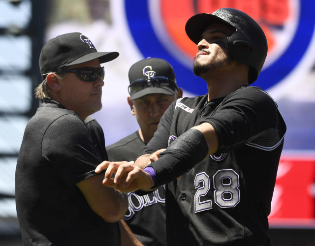 Nolan Arenado suggests the issues between the Cubs and Rockies were not settled after a series filled with hit batters and brushback pitches. (Photo by Andy Cross/MediaNews Group/The Denver Post via Getty Images)