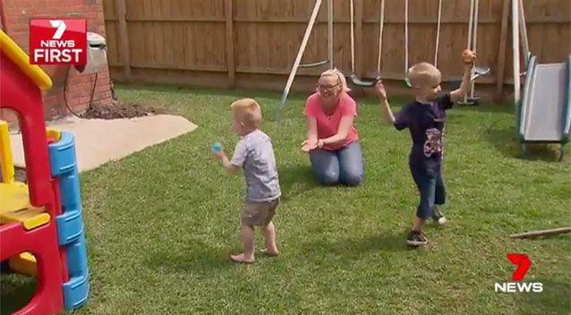 Playing outside with mum Louise and brother Jack. Source: 7News