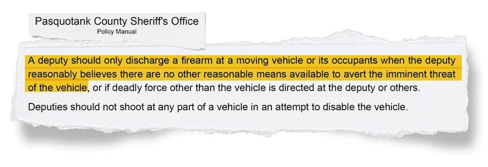 """A portion of the Pasquotank County Sheriff's Office use-of-force policy. The policy defines """"imminent"""" as """"impending,"""" not immediate or instantaneous."""