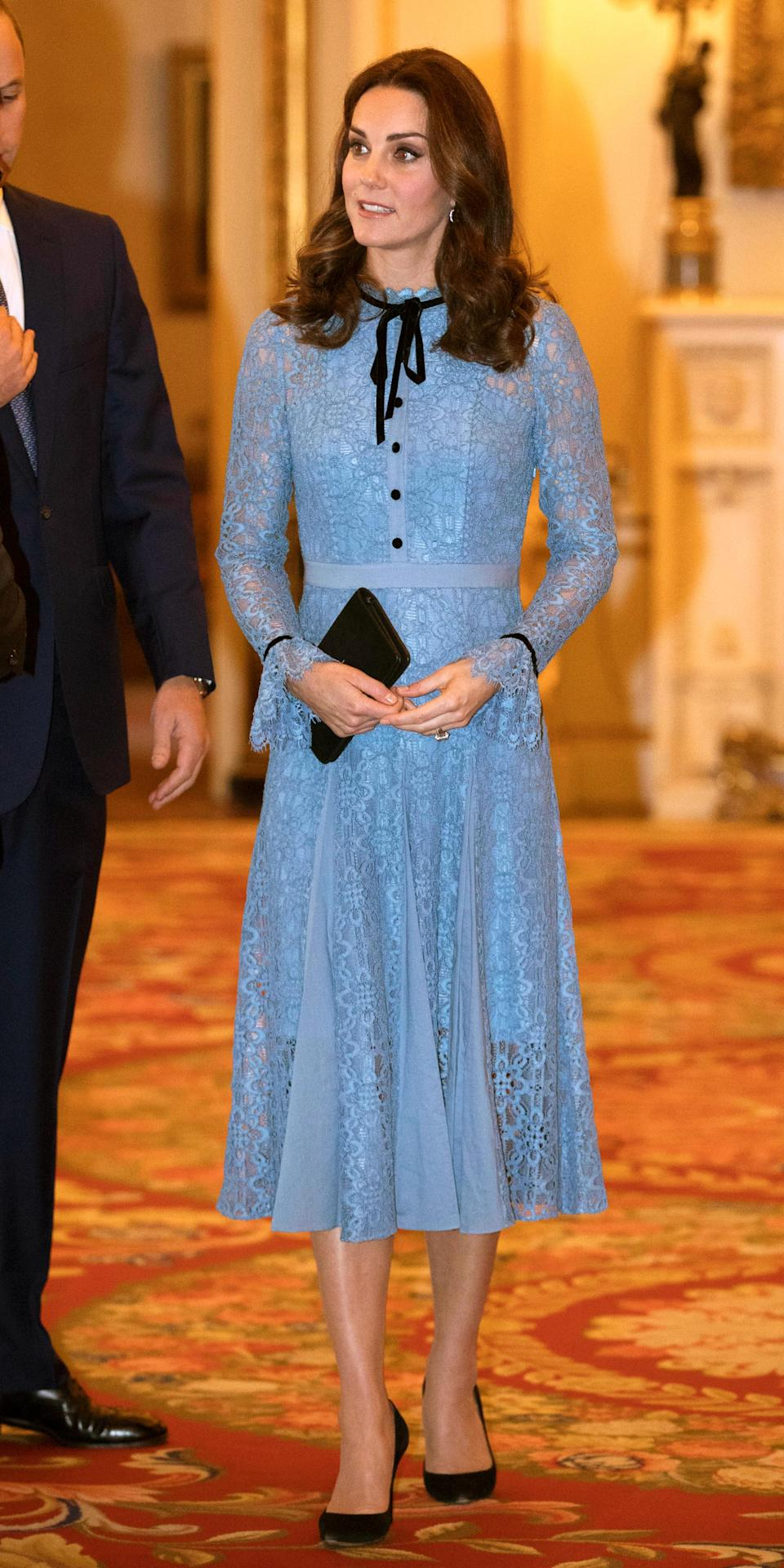 <p>Kate made her first appearance since the announcement of her third pregnancy, wearing a £795 lacy blue Temperley dress for a Buckingham Palace reception in honour of World Mental Health Day.<br><i>[Photo: PA]</i> </p>