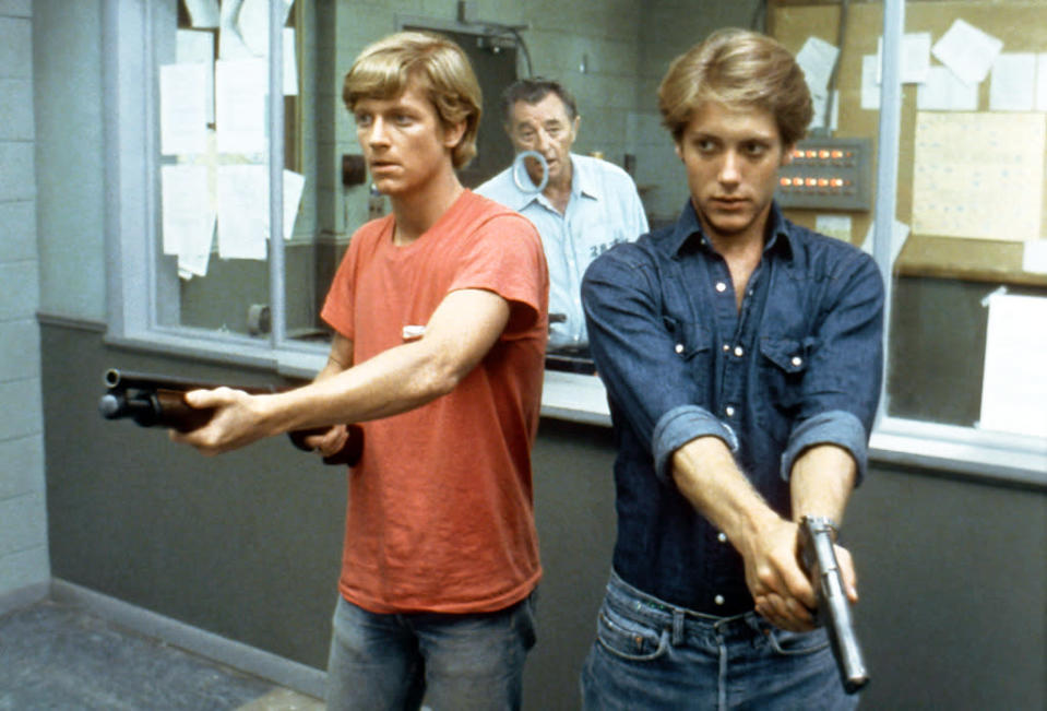 <p><b>Aired:</b> October 30, 1983 on ABC<br><b>Stars:</b> Robert Mitchum, James Spader, and Eric Stoltz<br><br><b>Ripped from the headlines about:</b> Gary Tison, a convict serving two life sentences for murder, whose sons break him out of jail. What follows is a crime spree that ends with one son (played by Spader) being shot to death by cops, and the other sons (including Stoltz) being sentenced to death row. Gary also dies, with his body found less than two weeks after the doomed escape.<br><br><i>(Credit: Everett Collection)</i> </p>