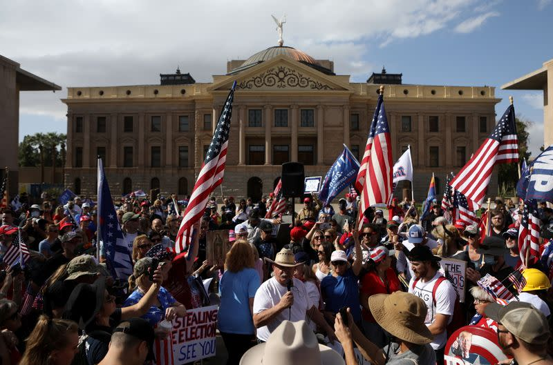"""Supporters of U.S. President Donald Trump gather at a """"Stop the Steal"""" protest after the 2020 U.S. presidential election was called for Democratic candidate Joe Biden, in Phoenix"""